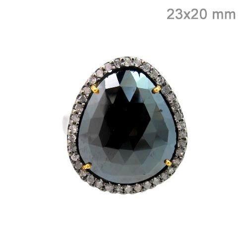 Black Spinel Gemstone 14k Gold Pave Diamond 925 Silver Ring Antique Look Jewelry #Handmade