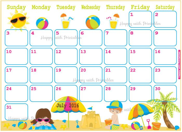 Cute July  Calendar Template   Calendar