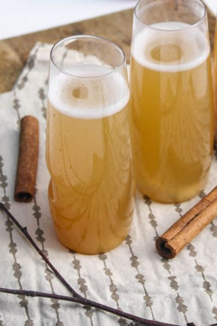 9 Halloween Cocktails To Get You Pumped For The Big Night #refinery29  http://www.refinery29.com/lauren-conrad/110#slide9  Spiced Apple Cider Champaign Cocktails