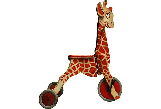 Toy Giraffe Tricycle Rare Swedish Wood Toy Giraffe