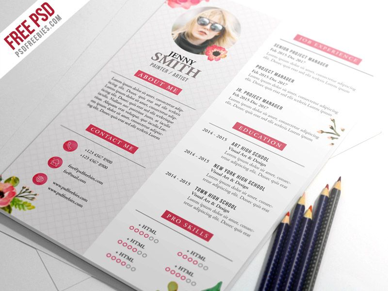 Awesome Painter Artist CV Resume Template PSD Download Free - artistic resume templates free