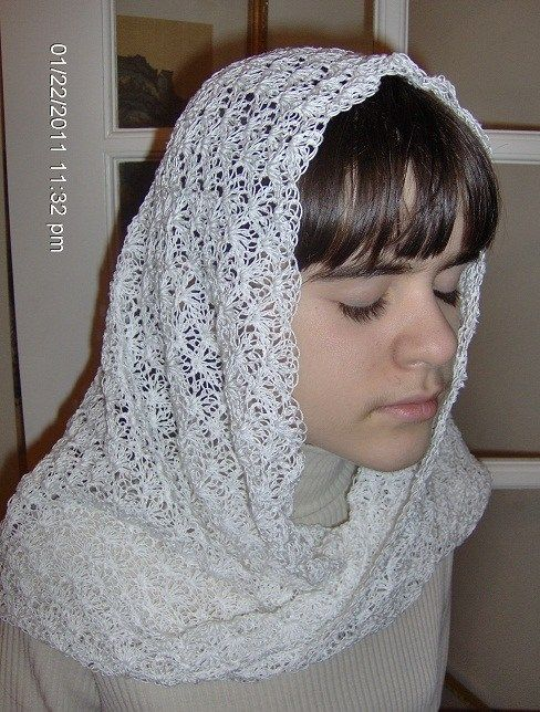 Shell Stitch Crocheted Catholic Chapel Veil / Mobius Wrap in White ...