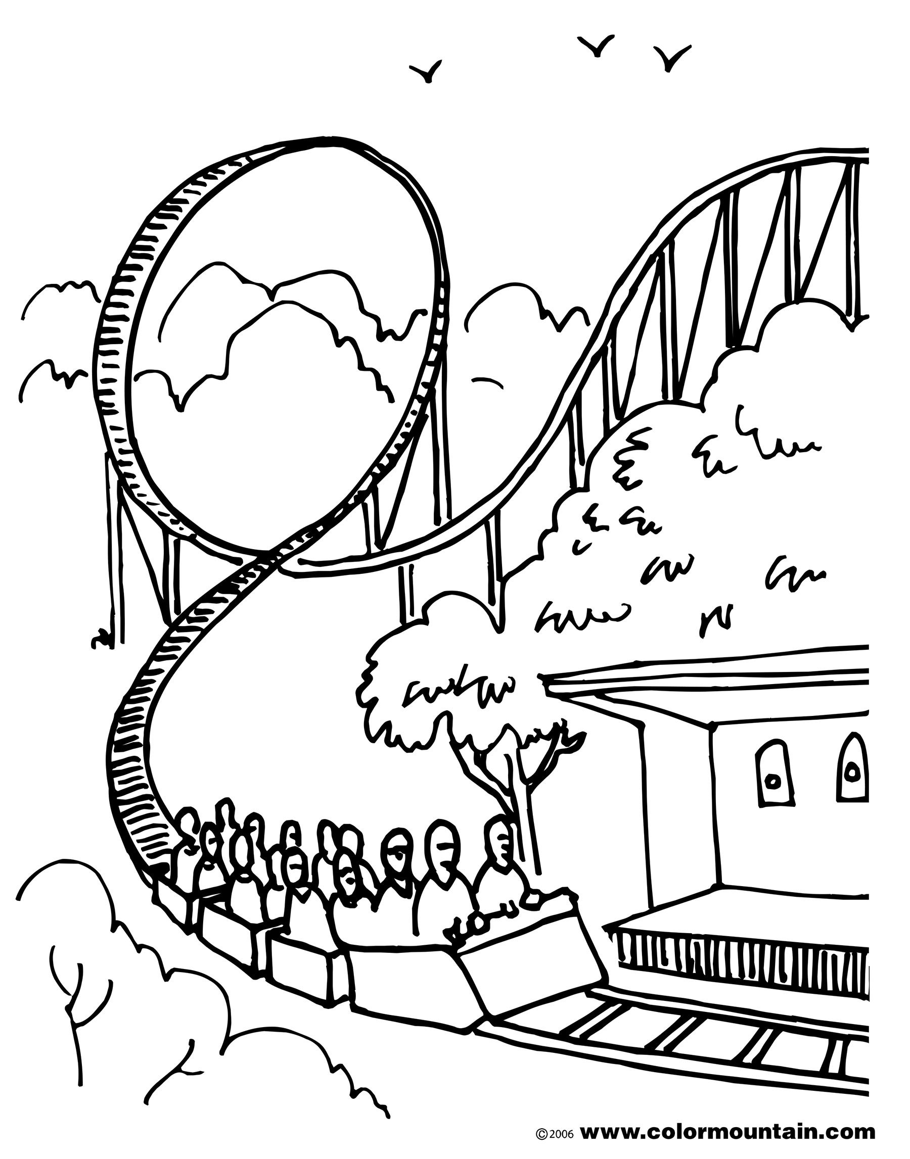Roller Coaster Coloring Sheet Page