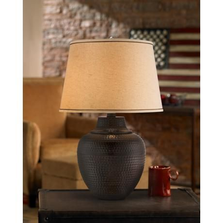 Brighton hammered pot bronze table lamp style x4785 aloadofball Image collections