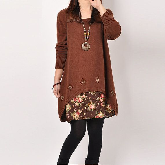 Brown Women Loose Cotton Sweater Casual Knitted by Showcottonstyle
