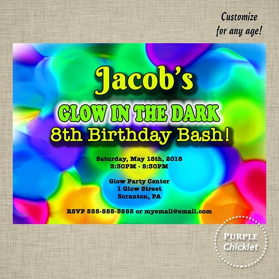 Glow In The Dark Birthday Party Invitation Art Party Neon Glow Party