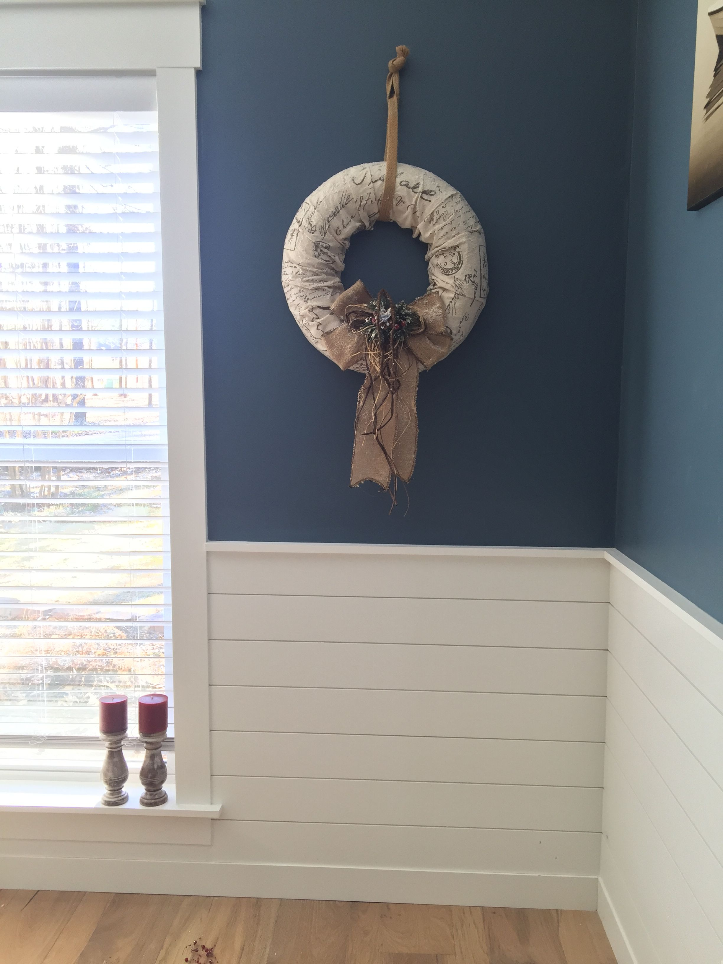 Adding shiplap chair rail height makes a simple beautiful