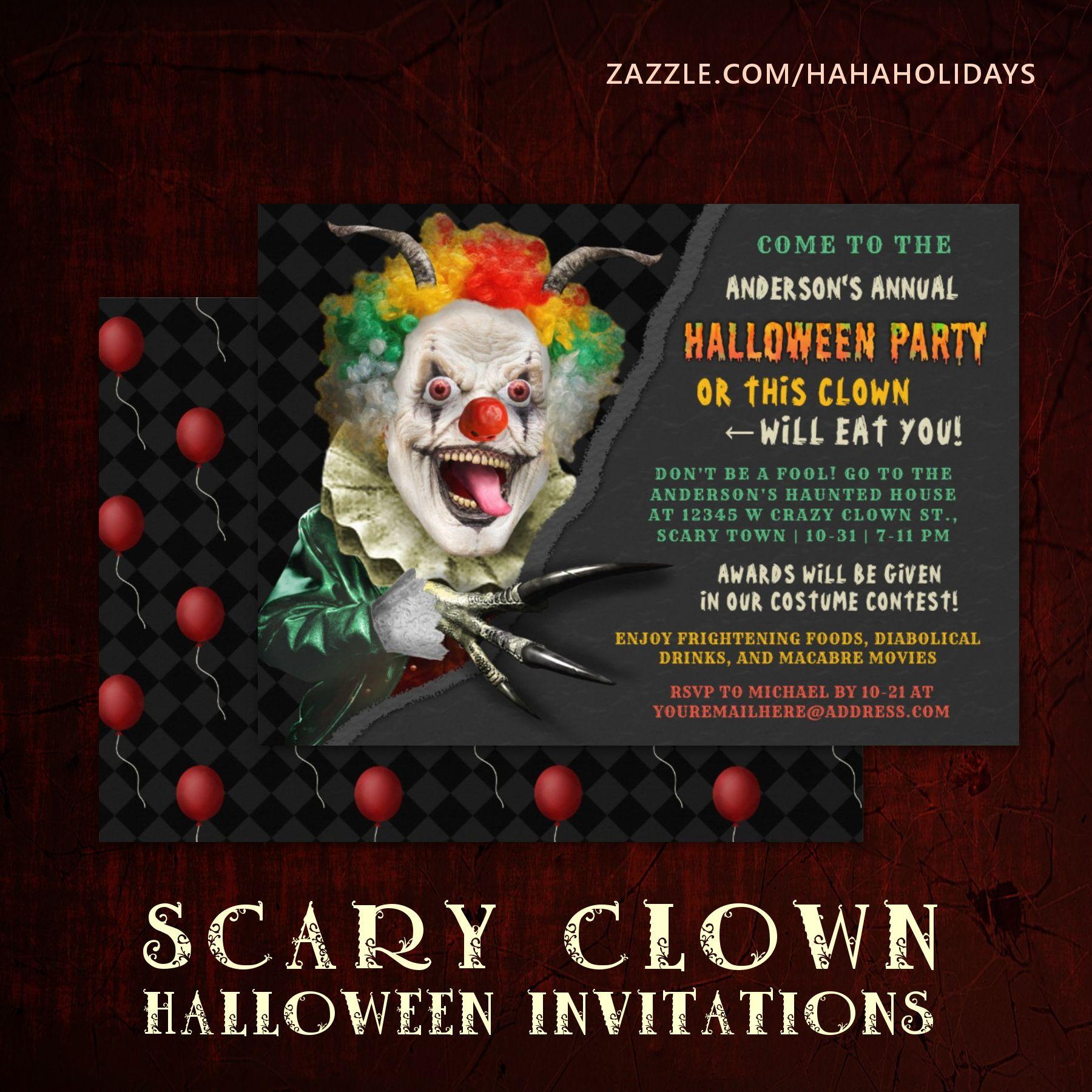 Halloween Creepy Clown Funny Adult Scary Party Invitation