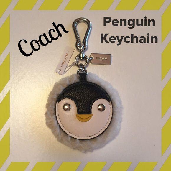 Nwt Coach Penguin Keychain Coach Penguin W Shearling Trim