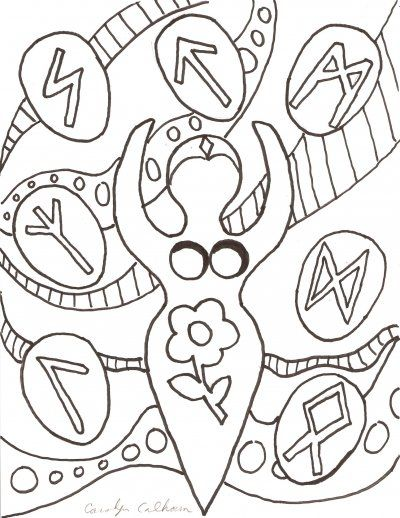 Goddess coloring page. Would make a fab embroidery
