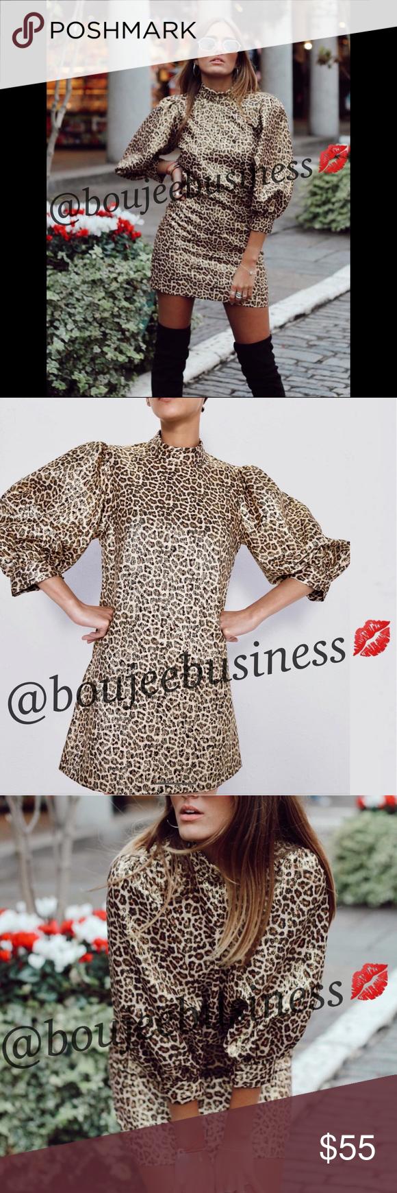L 1970s 1980s Black and Leopard Print Long Sleeve Winter Dress
