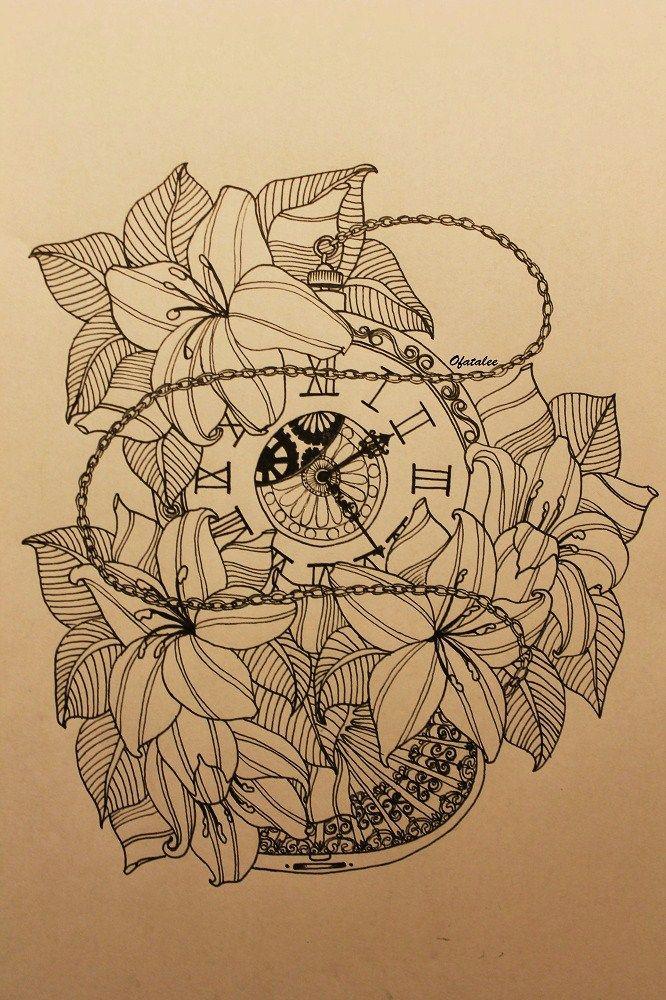 724b06238 lilies pocket watch time stencil tattoo ink ofatalee | Inked ...