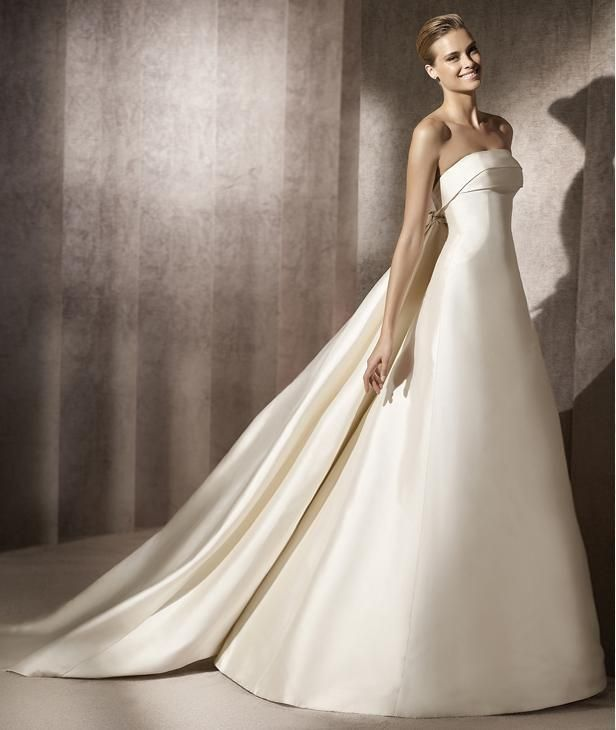 8c39fd0c25b A-line Strapless Foldover Neckline Detachable Train Satin Wedding Dress-wa0308