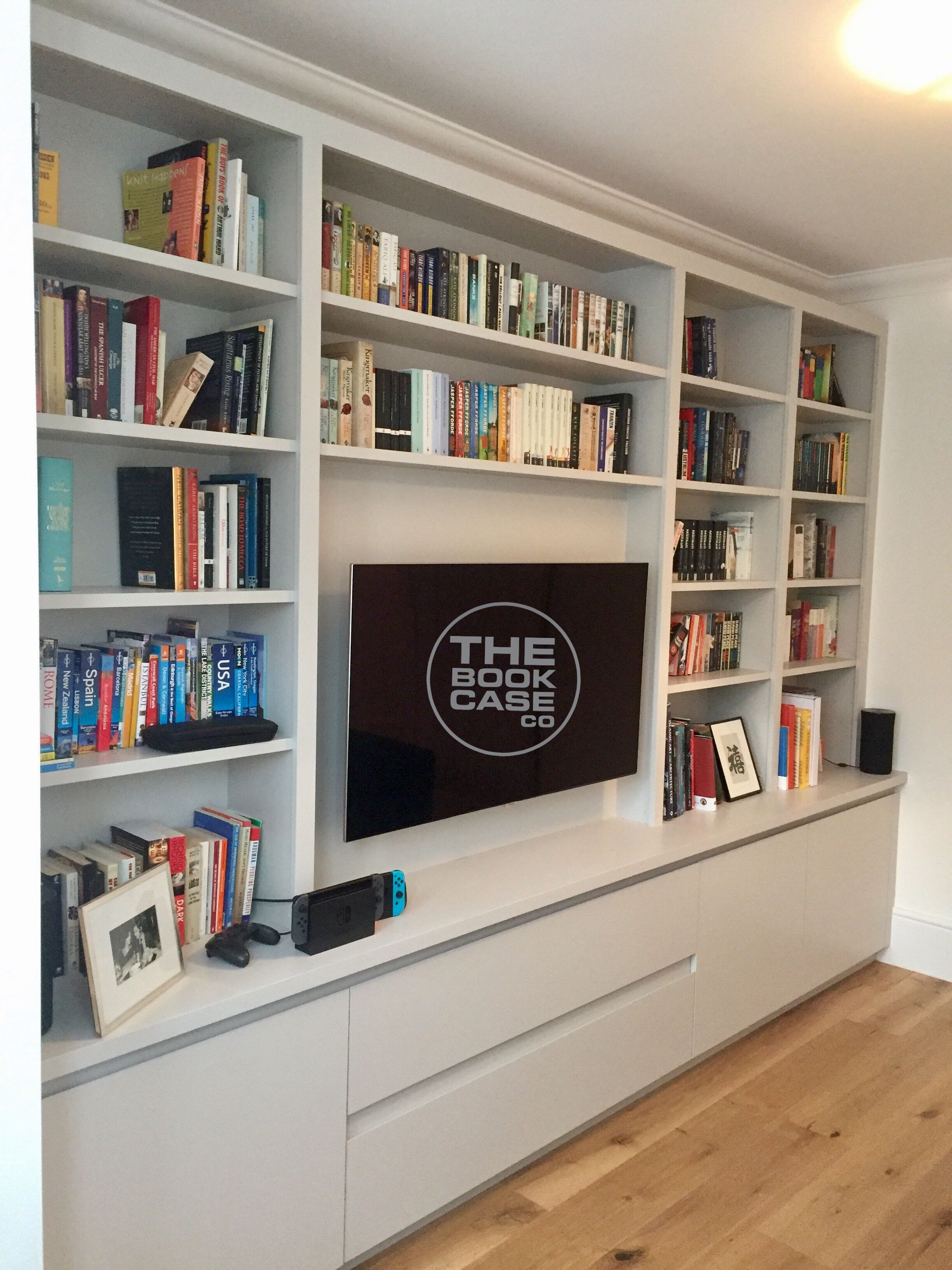 Stylish Purpose Built Media Storage Unit Housing Tv And Dvd S In Drawers Below Living Room Wall Units Living Room Built In Units Shelving Units Living Room #storage #shelf #living #room