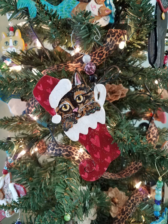 Tortoiseshell Cat Stocking Ornament Personalize Ornament