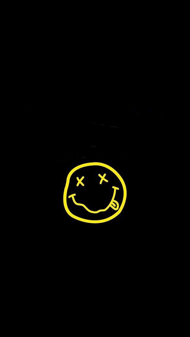 Nirvana Smiley Logo Black Wallpaper