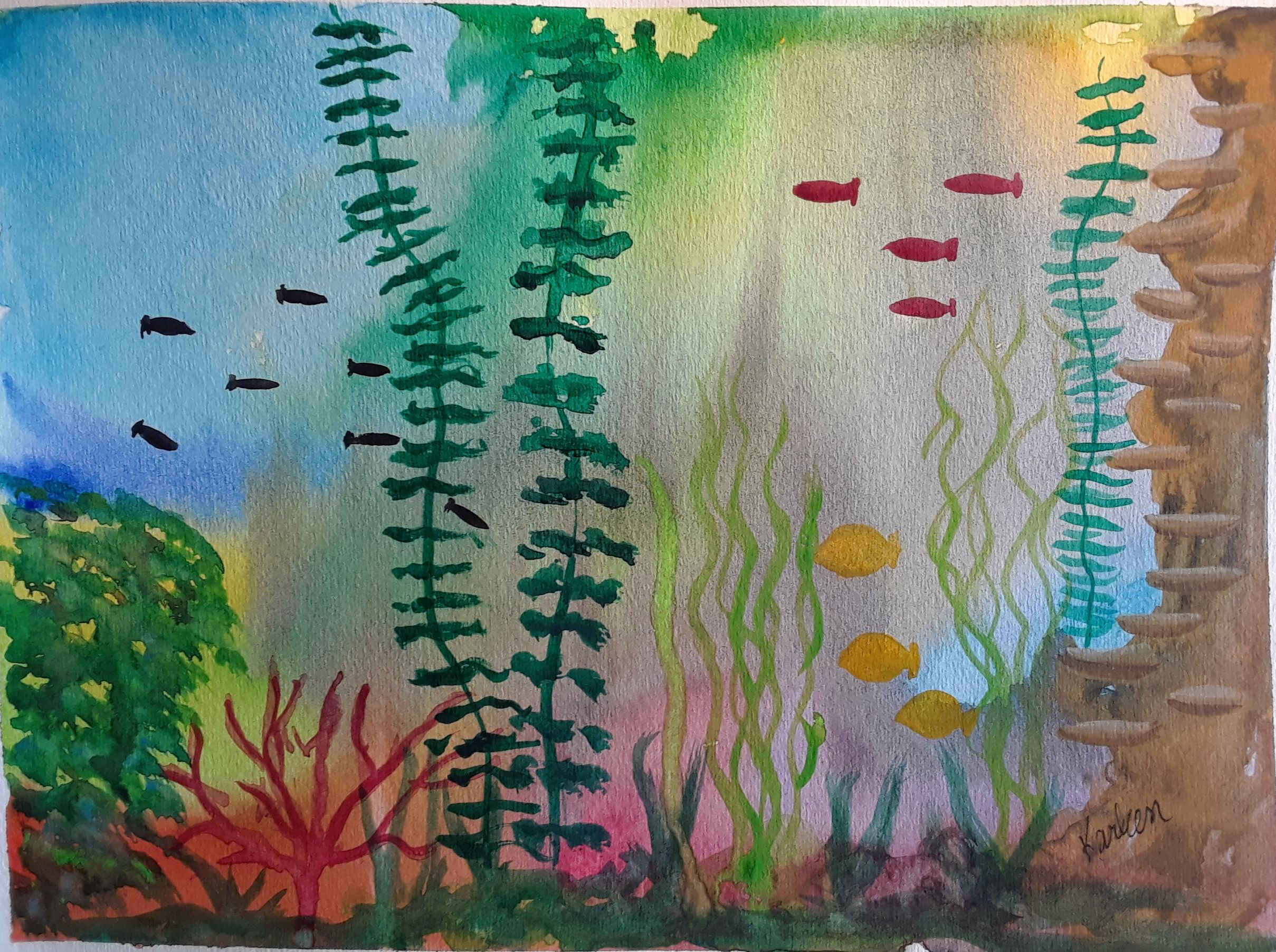 Underwater Wonder Is A Small Abstract Watercolor Painting Done On