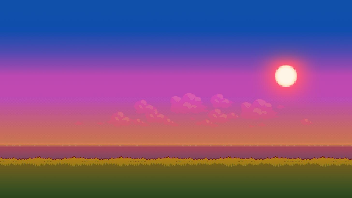 Evening Sunset Wallpaper Pixel Art Background Background