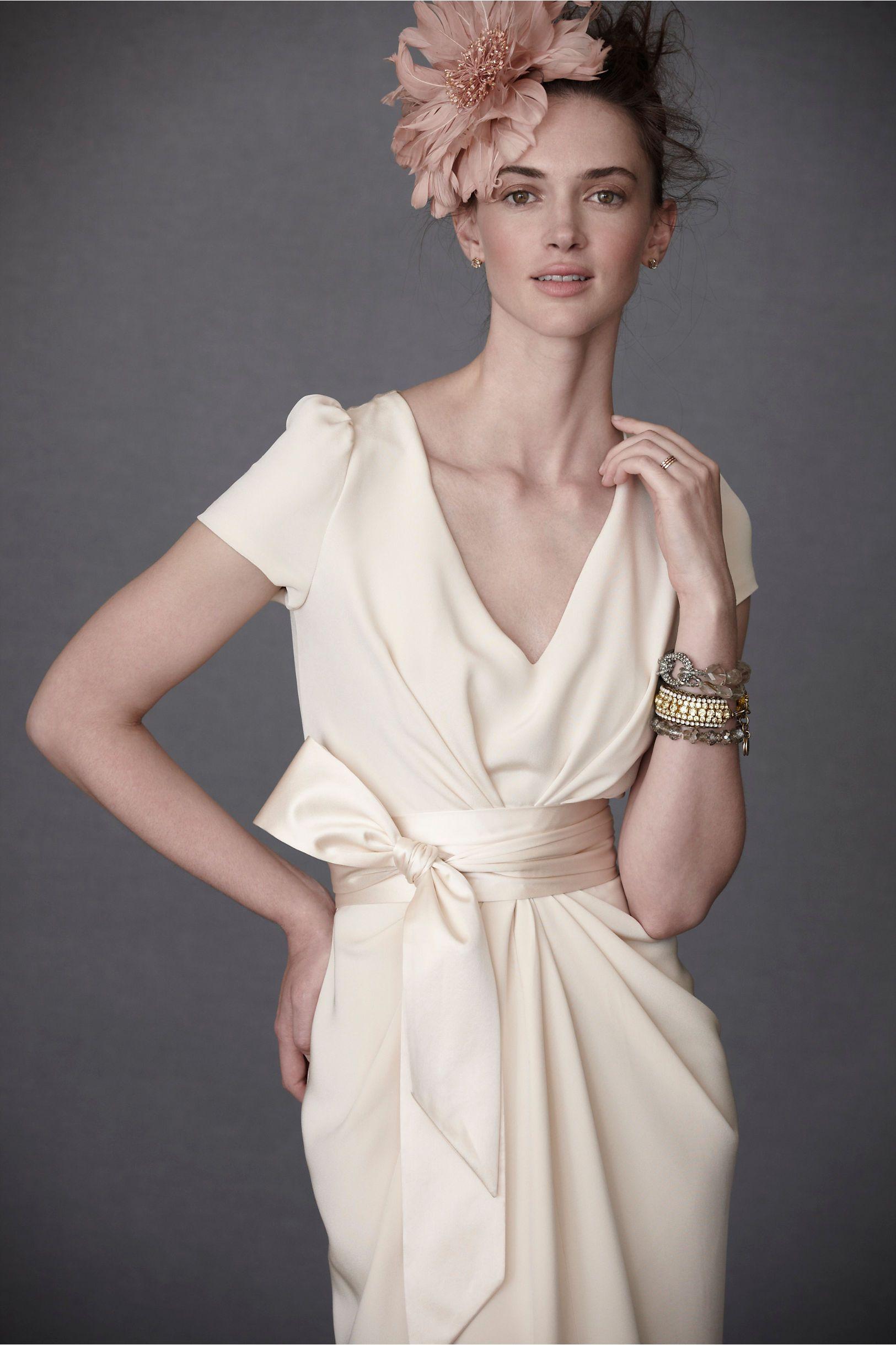 Silk sheath wedding dress  silk crepe bow wedding dress  th wedding anniversary  Pinterest