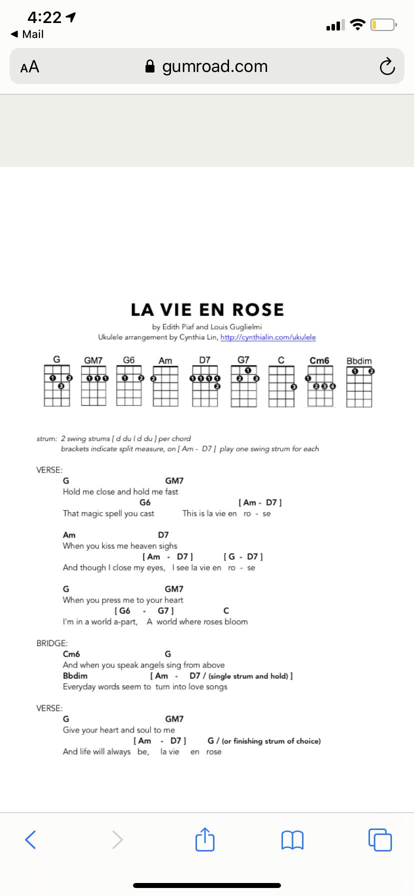 La vie en rose uke chords   Uke songs, La vie, Edith piaf