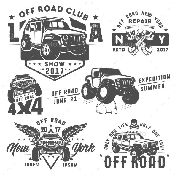 Set Of Off Road Car Emblems Template Vector Eps Badges Estampas