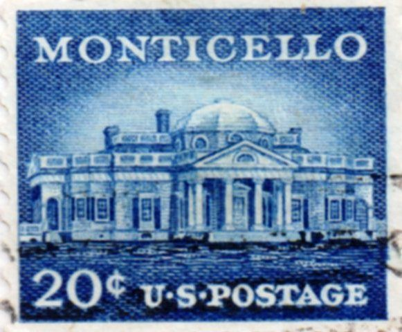 US Postage Stamp 20 Cent Monticello Issued 1954 Scott Catalog 1047