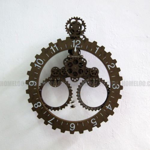 Modern Contemporary Mechanical Gear Wall Clock With Calendar Wheel Copper  Color
