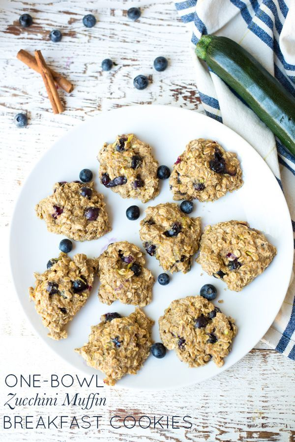 Cookies for breakfast? I think so! This recipe, packed with fruits, veggies, and oats, One-Bowl Blueberry Zucchini Muffin Breakfast Cookies are a wholesome breakfast or snack for healthy kids at home or on the go.