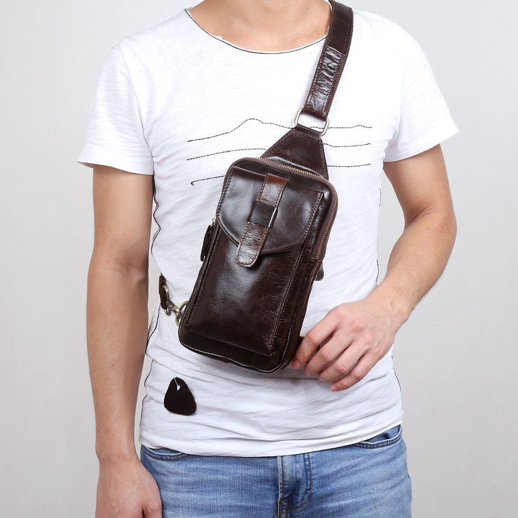 8897a16a3b65 Overview: Design: Genuine Leather Mens Cool Chest Bag Sling Bag Crossbody  Bag Travel Bag Hiking Bag for menIn Stock: Ready to Ship (2-4 days)Include:  Only ...
