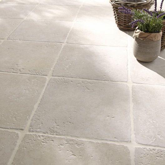 Carrelage extérieur Toscane en grès cérame émaillé, blanc, 325 x - Pose De Carrelage Exterieur Sur Chape Beton