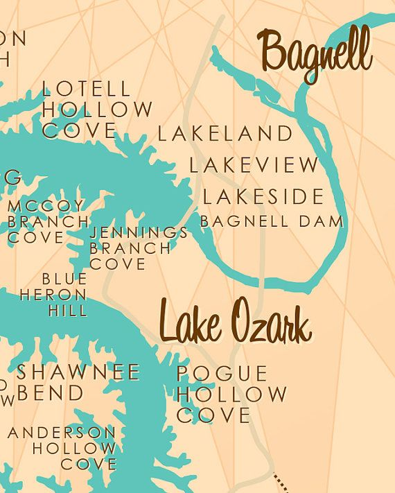 Lake Of The Ozarks Map With Cove Names : ozarks, names, Ozarks, Missouri, Without, Markers, Rustic, Ozarks,