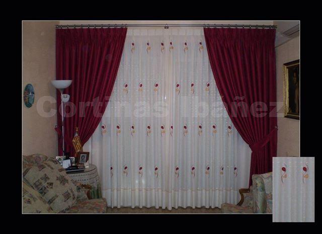 Foto cortinas tradicionales con visillo bordado en riel y - Cortinas con riel ...