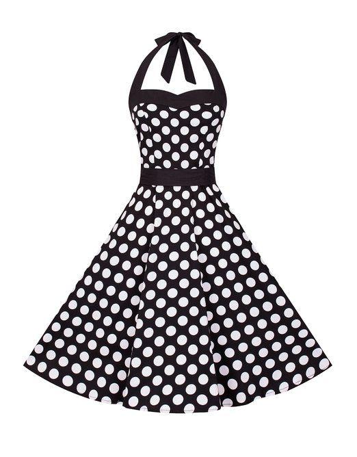zarlena robe style rockabilly ann e 50 noir pois blancs v tements et accessoires. Black Bedroom Furniture Sets. Home Design Ideas