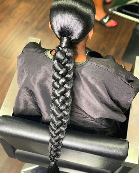 Something Different Such A Gorgeous Braided Ponytail By Keystylist Would You Rock It Braided Ponytail Hairstyles Braided Ponytail Natural Hair Styles