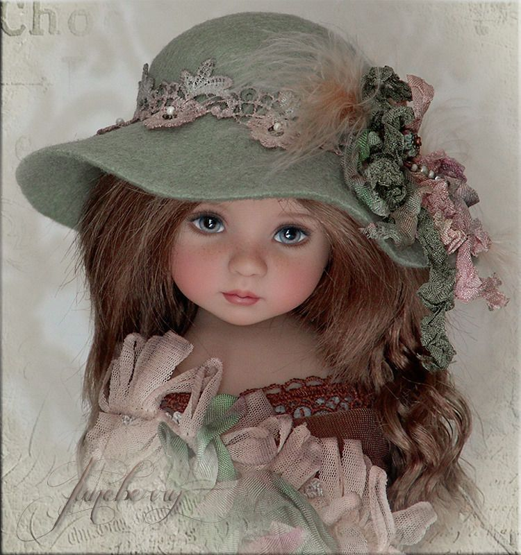 OOAK JUNEBERRY DOLL Hat for Effner Little Darling, Ellowyne, BJD by Linda ebay itsa_doll_hat_affair