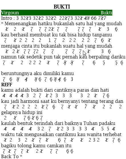 Not Angka Pianika Lagu Bukti Virgoun Lagu Buku Lagu Teks Lucu
