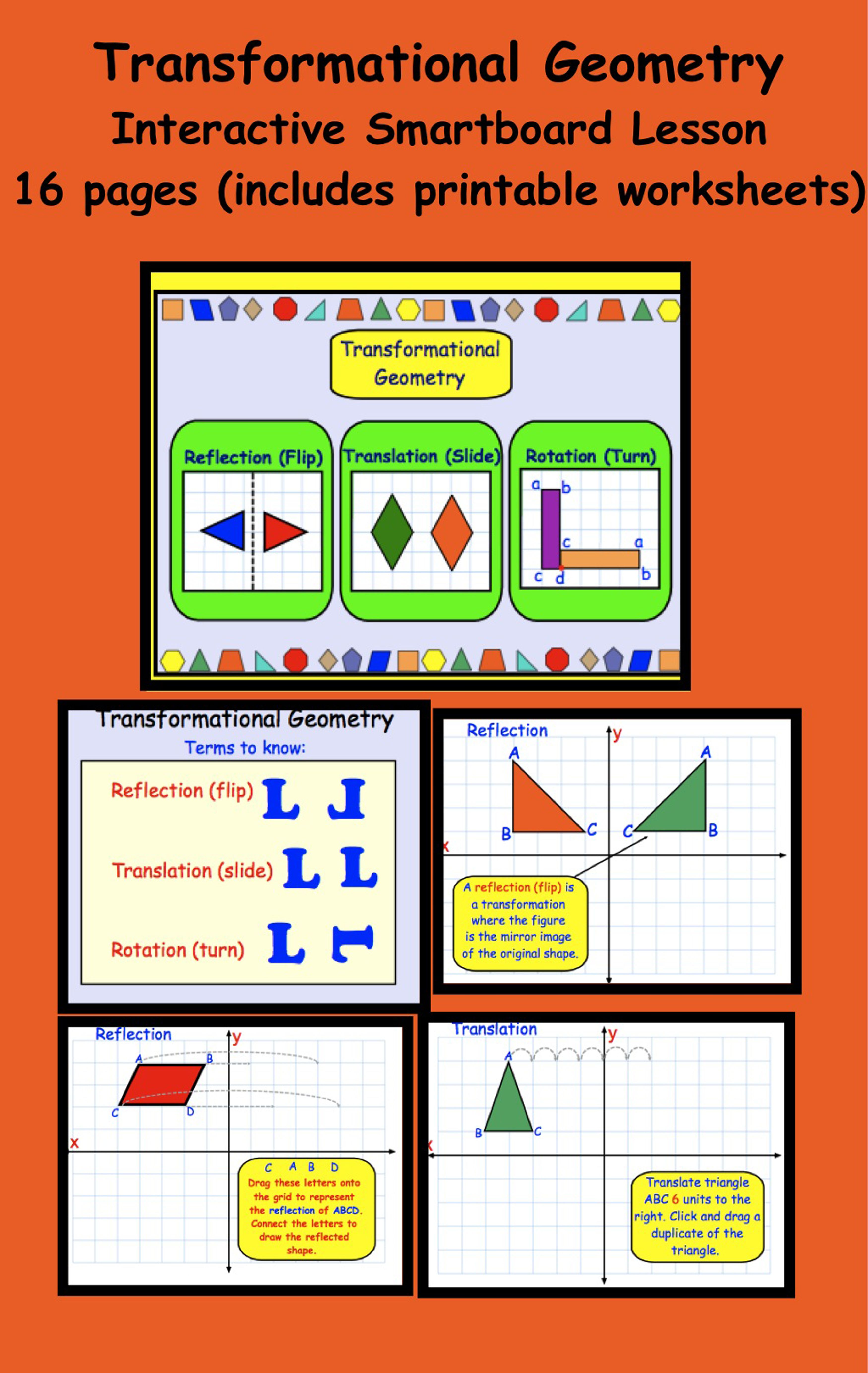 Transformational Geometry Gr 5 6 Interactive Smartboard Activities Amp Printables