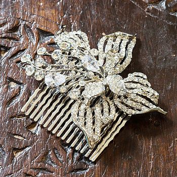 Crystal Orchid Flower Hair Comb