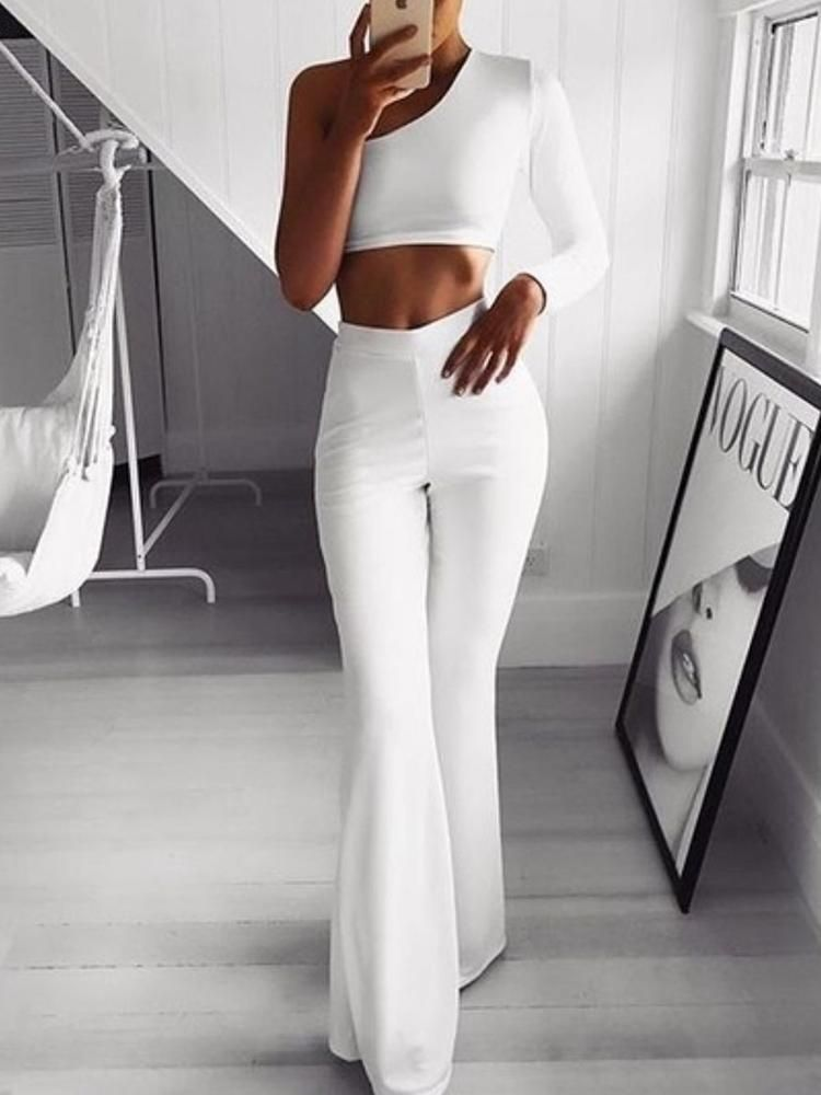 Solid High Waist Bell Bottom Skinny Pants Classy Outfits Fashion Fashion Outfits