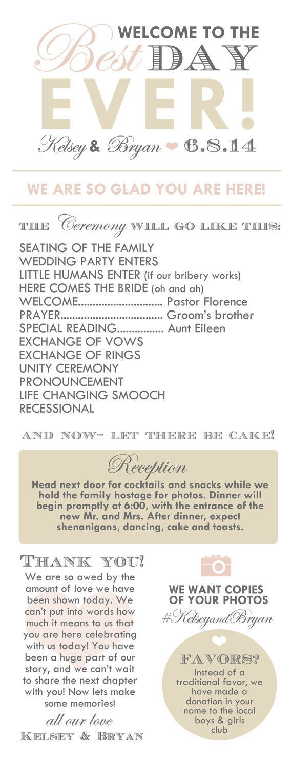Infographic Program is the Latest Thing for Weddings Infographic Wedding Program- I pretty much want to steal this word for word!Pretty     Pretty may refer to: