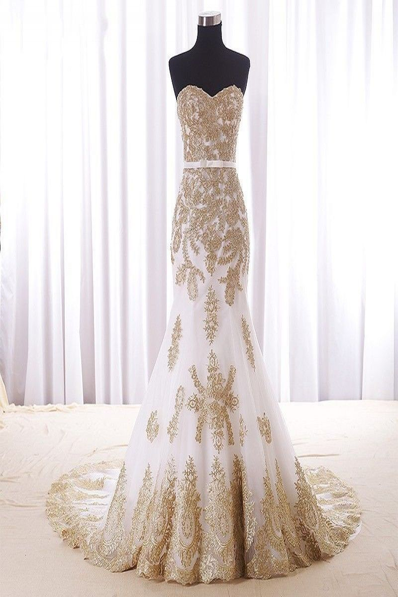 12899 New Gold Lace Mermaid Wedding Dresses Custom Color Plus Size Bridal �: Gold Sweet Mermaid Wedding Dresses At Reisefeber.org