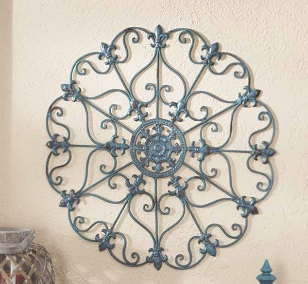 Metal Teal Medallion Blue Wall Art Hanging Entryway Home Decor