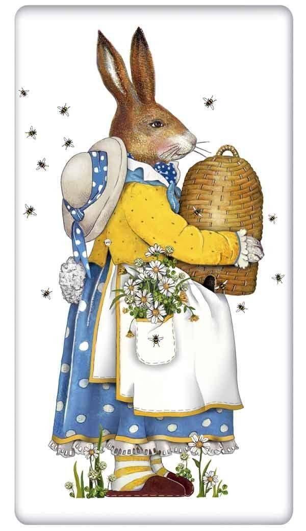 Rabbit With A Beehive 100 Cotton Flour Sack Dish Towel Tea Towel Bunny Art Vintage Easter Bunny