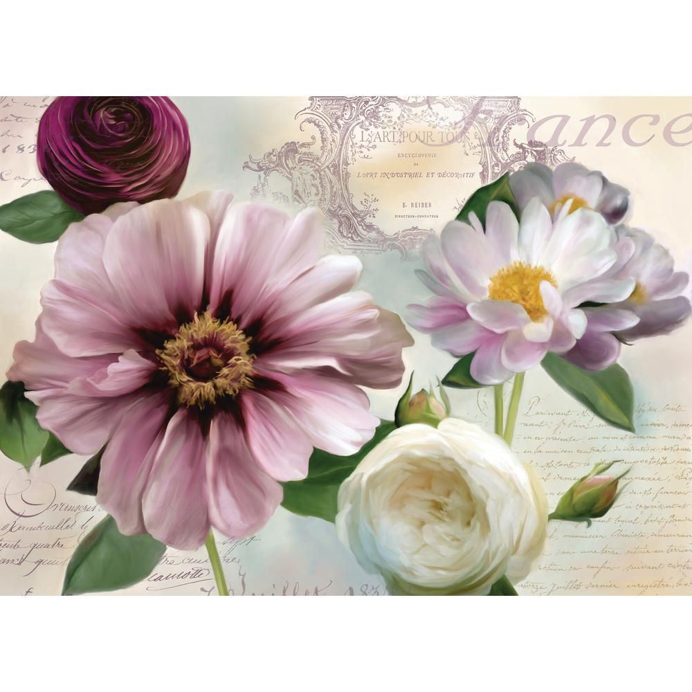 Morgan Home Purple Floral Placemat Set 4 Pack M601521 The Home Depot Floral Wall Canvas Placemat Sets