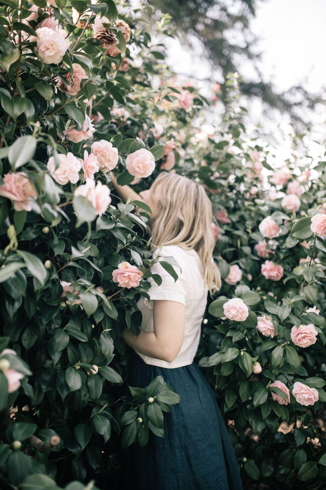 Flowers tight brunette teen posing