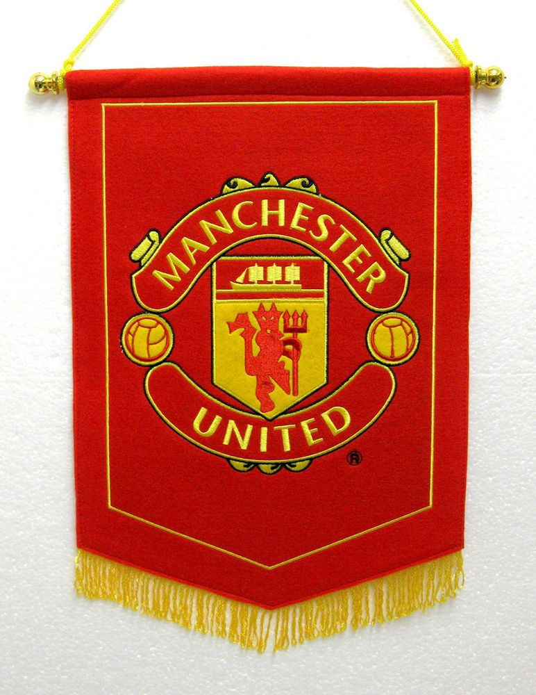0ba649fbc04 Official Manchester United Man UTD Red Devil Embroidered Pennant Wall Flag  in Sports Memorabilia