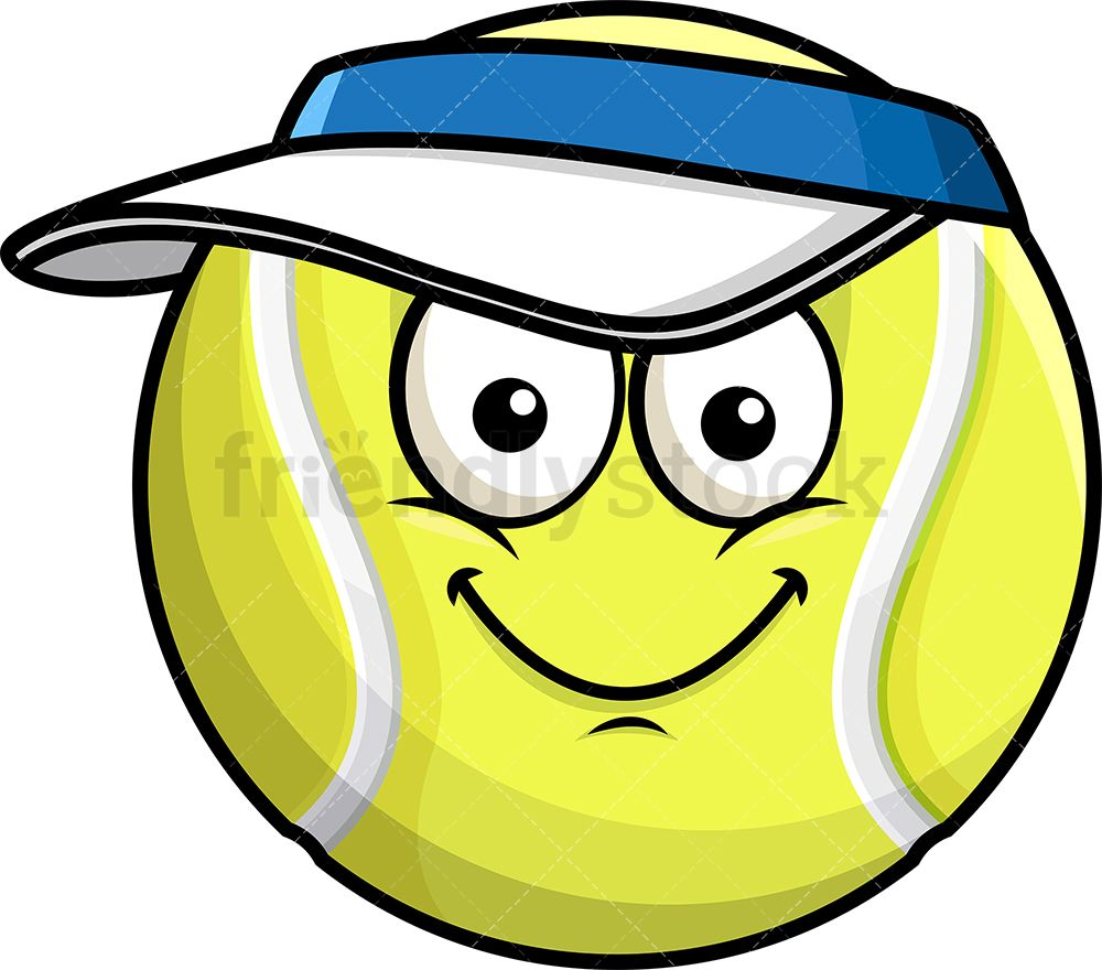 Tennis Ball Wearing Hat Emoji Cartoon Clipart Vector Friendlystock Emoji Hat Emoji Tennis Ball