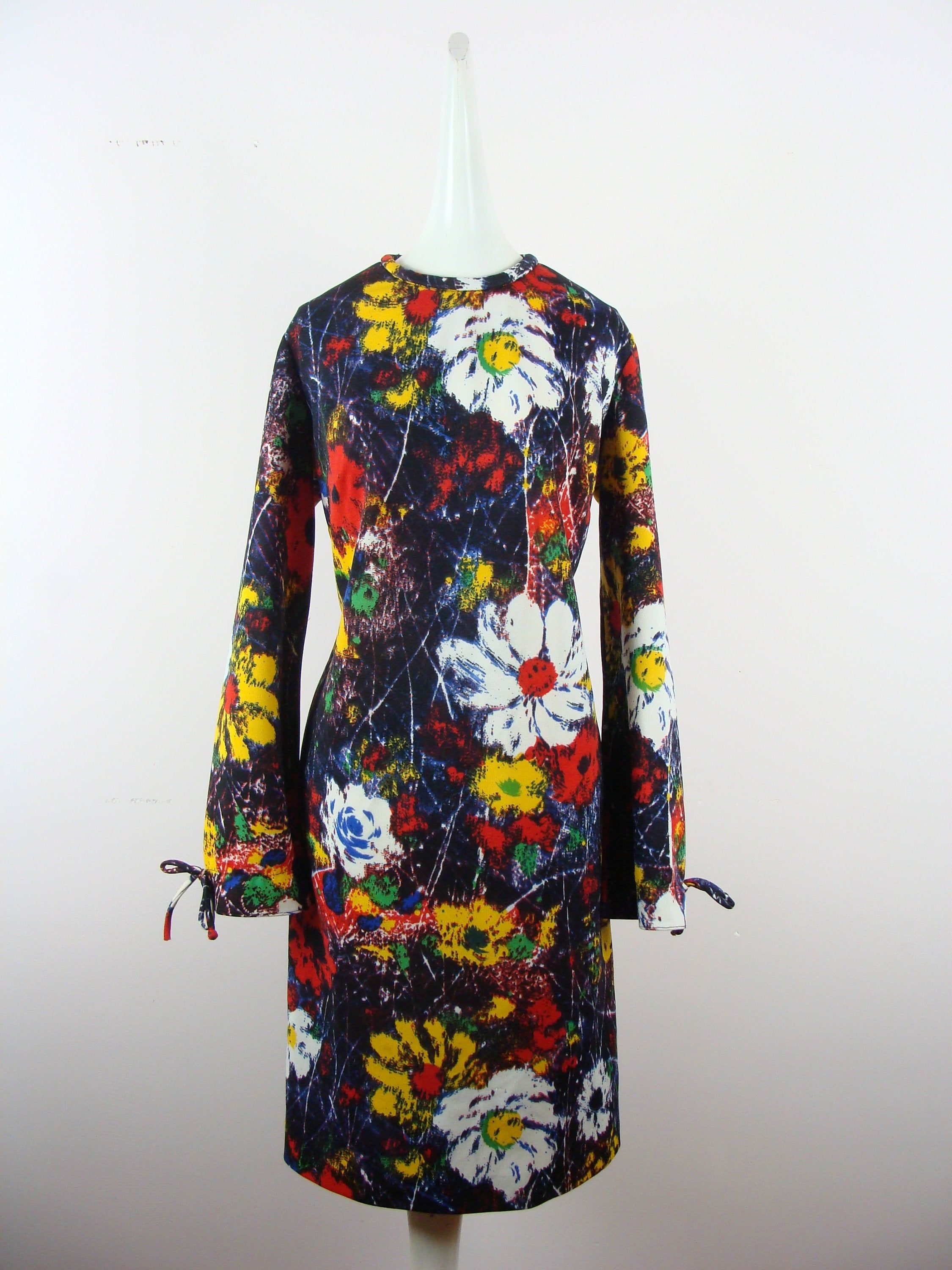 Vintage Psychedelic Dress 70s Abstract Floral Op Art Long Etsy Long Sleeve Shift Dress 70s Dress Floral Print Dress [ 3000 x 2250 Pixel ]