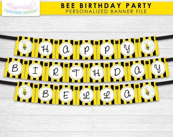 Busy Honey Bumble Bee Theme Happy Birthday Party Banner