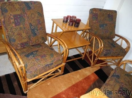 Mid Century Modern Heywood Wakefield Rattan Table Chair Set Chair Antique Chairs Bamboo Sofa